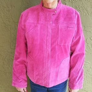 Chico's, pink suede 💯% leather jacket